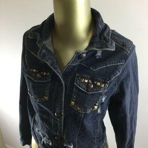 VANITY Button Front Medium Wash Blue Denim Jean